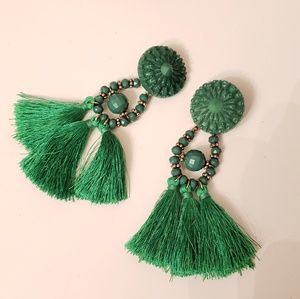 H&M Green Tassel Earrings